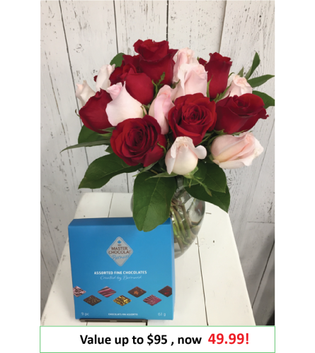 24 stem  Mystery Color Rose + chocolate Bouquet