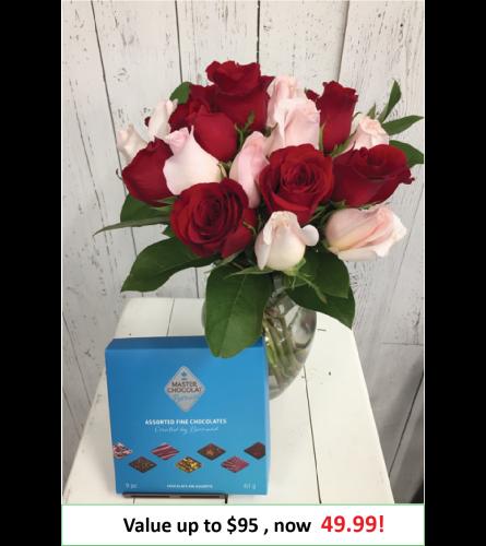 2 Dozen Mystery Color Rose Arrangement + Chocolate