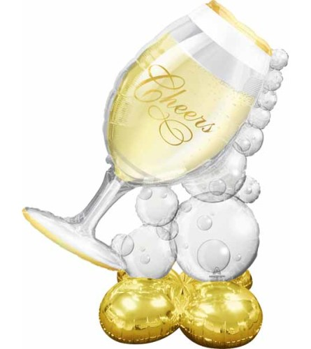 """Cheers Bubbly Wine Glass 51"""" AirLoonz"""