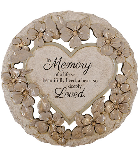 Plaque - Circle Heart w/ Flowers 'In Memory'