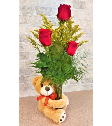 Red trio with a plush bear by O'Flowers