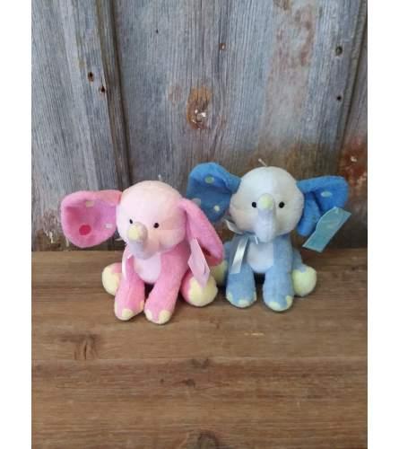 Plush Elephant w/ Polka Dot Ears (Pink or Blue)
