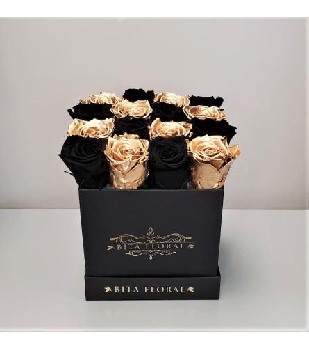 Black/Gold Checkered Eternity Roses