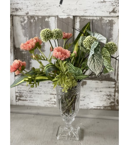 Crystal Centerpiece with Silk Florals and Greens