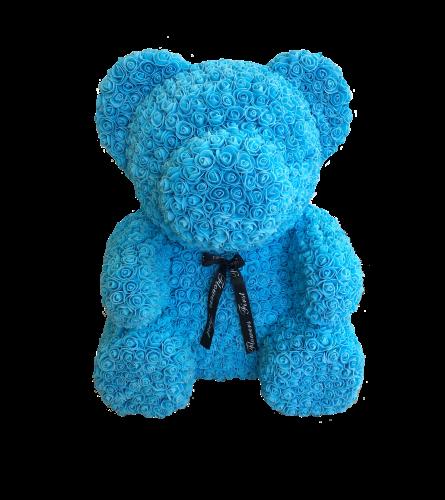 BLUE LOVE HEART ROSE BEAR