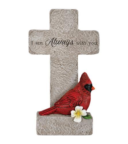 With You Cardinal Memorial Pedestal Cross
