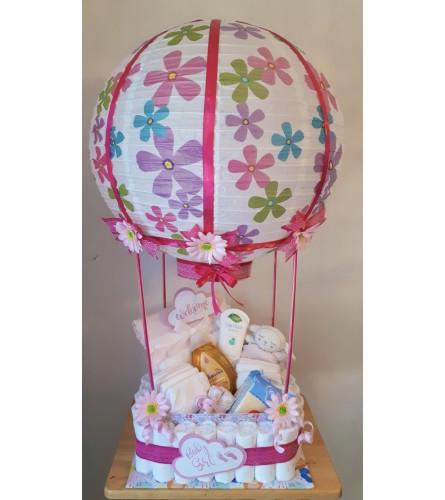 Welcome Baby Girl Hot Air Balloon Basket