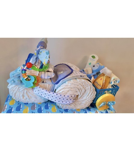 Welcome Baby Boy Tricycle Basket