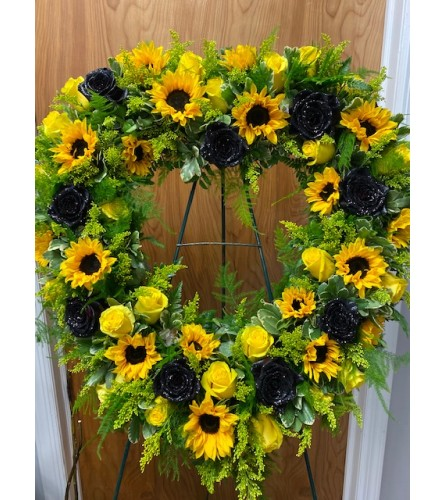 Sunflower and Black Rose Sympathy Heart