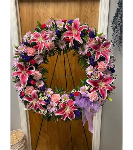 Stargazer Lily Sympathy Wreath