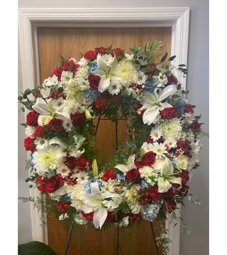 Red, White, and Blue Sympathy Wreath