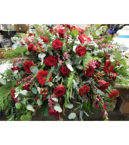 Red Flowers and Mixed Greenery Casket Cover
