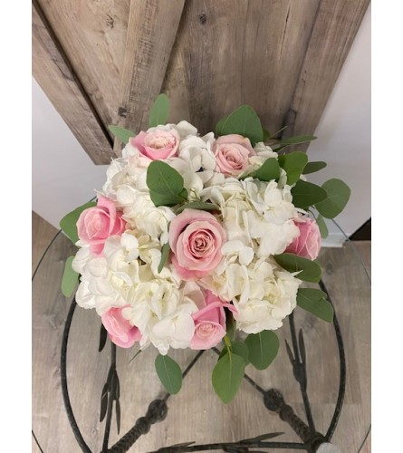 White Hydrangea and Pink Roses Bridal bouquet
