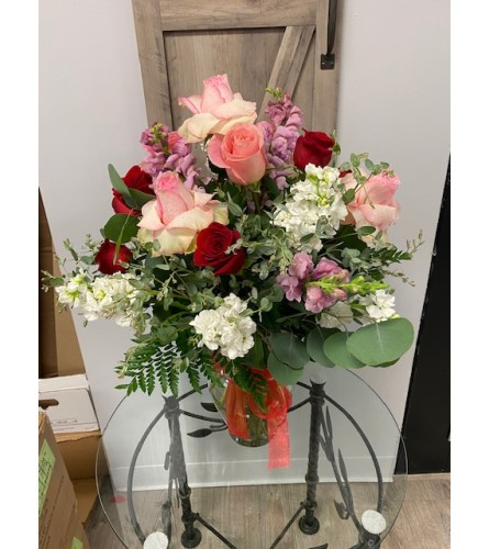 Red and Pink Roses with Mixed Flower Vase