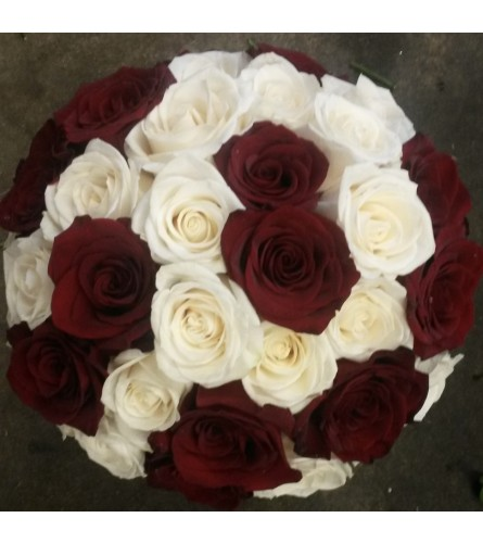 Red and Cream Rose Bridal Bouquet