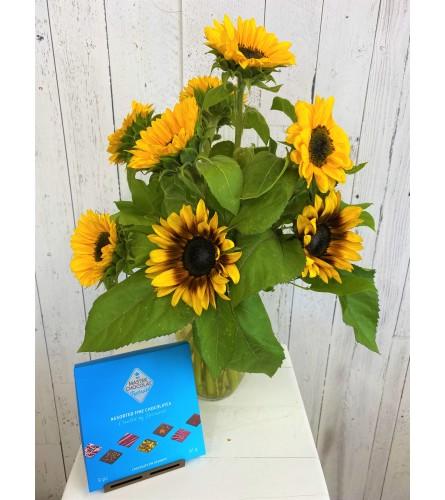 Sunflower Bouquet + Chocolate Special