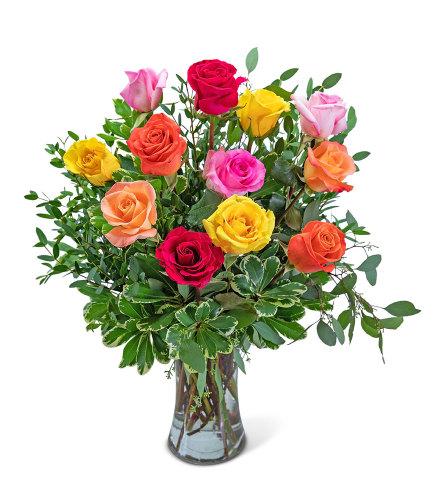 One Dozen Colorful Roses