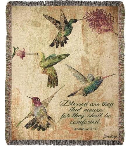 Tapestry Throw - Hummingbird Floral