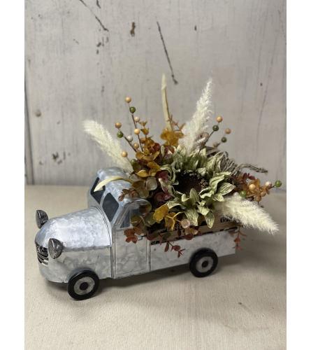 Fall Silks In Silver Tin Truck