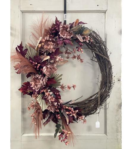 Burgundy Fall Grapevine Wreath