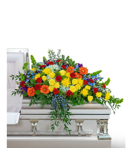 Vibrant Life Casket Spray with Flowers
