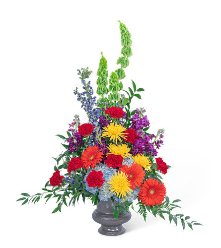 Vibrant Urn with Flowers