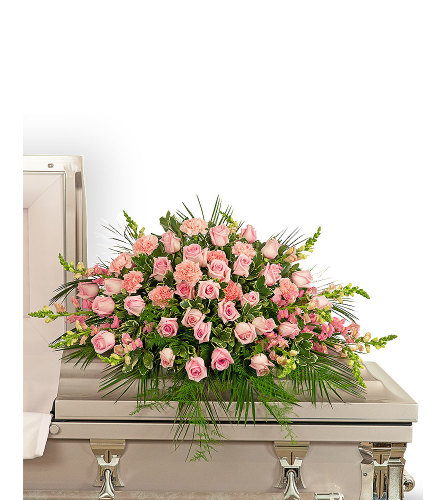 Forever Adored Casket Spray with Flowers