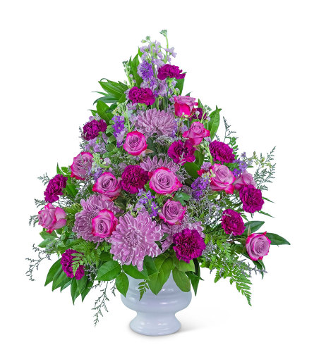 Gracefully Majestic Urn with Flowers