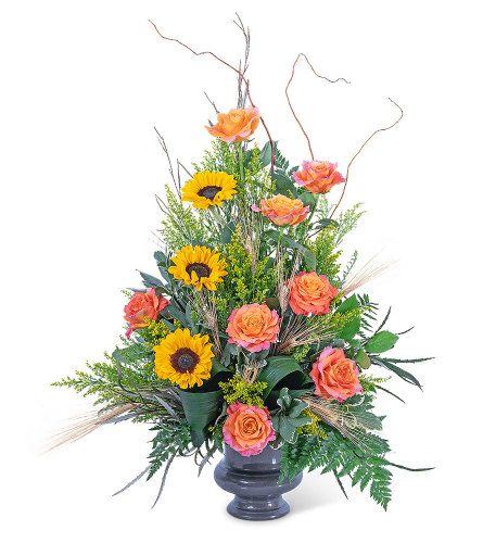 Sunset Solstice Urn with Flowers
