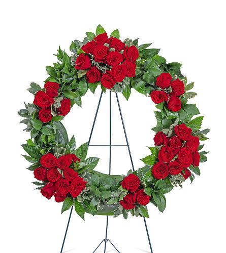 Serene Sanctuary Wreath with Flowers