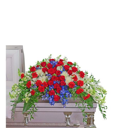 Valiant Honor Casket Spray with Flowers