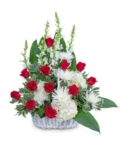 Serene Sanctuary Basket with Flowers