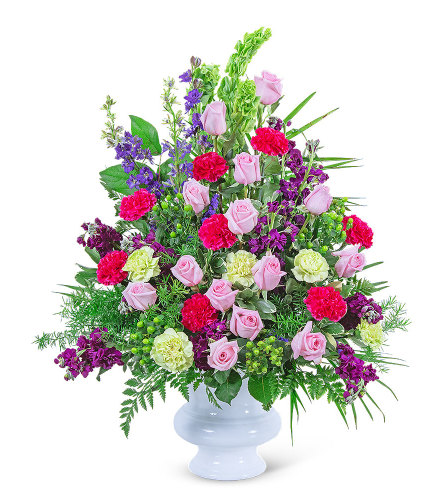 Always Remembered Urn with Flowers