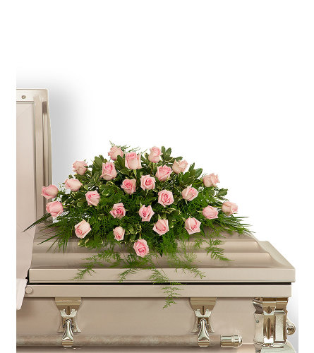Pink Tranquility Casket Spray with Flowers