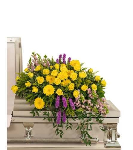 Sunshine from Heaven Casket Spray with Flowers