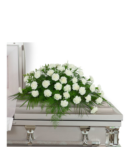 Peaceful in White Casket Spray with Flowers