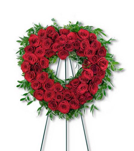 Abiding Love Heart with Flowers