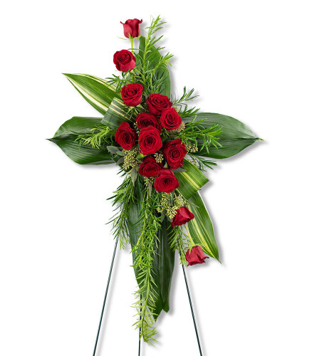 Abiding Love Cross with Flowers