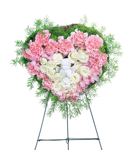 Forever Our Angel Standing Heart with Flowers