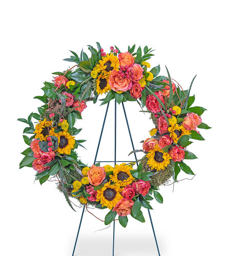 Sunset Reflections Wreath with Flowers