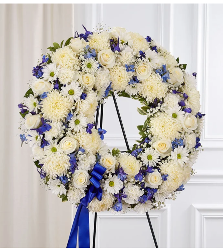 Blue and White Days Wreath