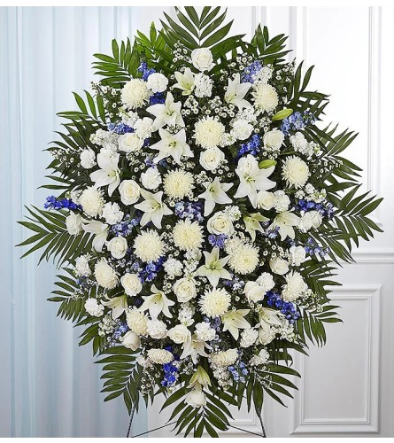 White and Blue Remembrance Standing Spray