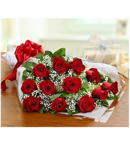 Red Roses - long stem Wrapped Bouquet
