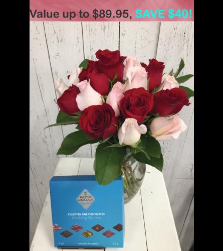 24 stem  Mystery Colour Rose + chocolate Bouquet