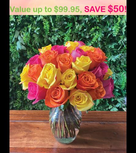 36 stem  Mystery Color Rose Bouquet