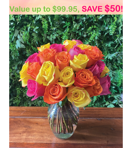 3 Dozen Mystery Color Rose Bouquet