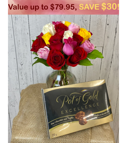 2 Dozen Mystery Color Roses + Pot Of Gold Chocolate