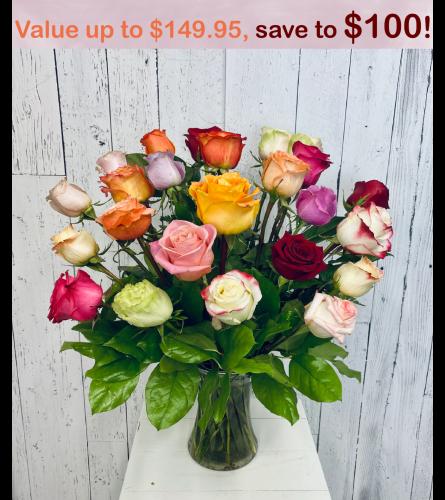 24 Premium Mixed Color Roses