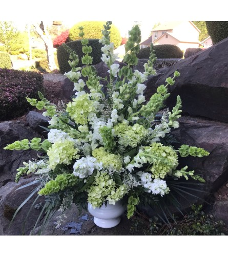 Green and White Arrangement for the Funeral