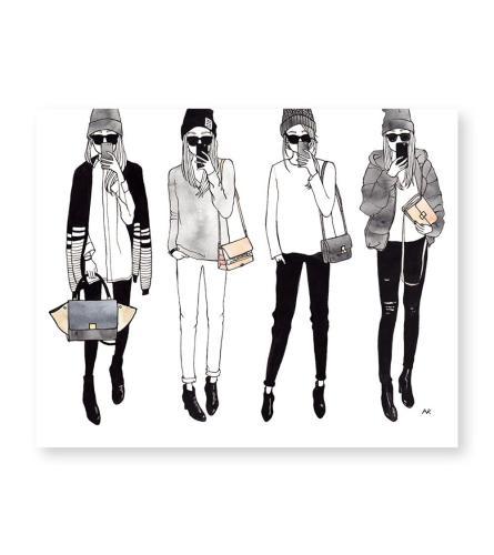 Selfie Girls Art Print